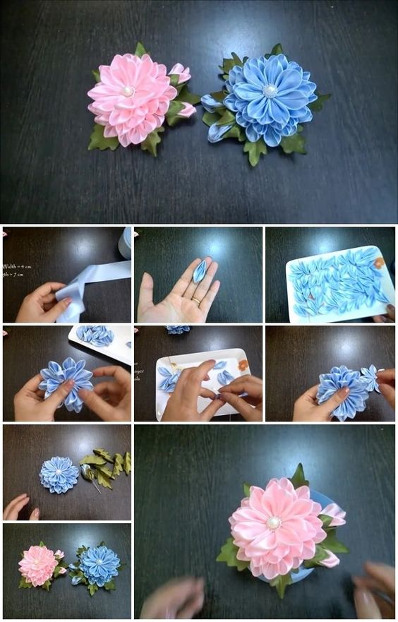 How to Make Ribbon Satin Kanzashi Flower | UsefulDIY.com: