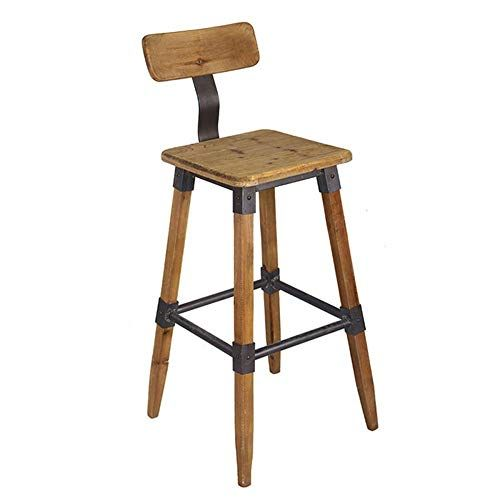 Qaz Solid Wood Bar Chair Retro Industrial Style Bar Stool Kitchen Breakfast Counter Chair High Stool With Back Kitchen Stools Counter Chairs Stools With Backs