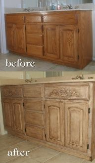 Annie Sloan Chalk Paint Old White with Dark Walnut Glaze and wax. Builder grade, oak, bathroom vanity remodeling for master bath. Would love to do this someday.