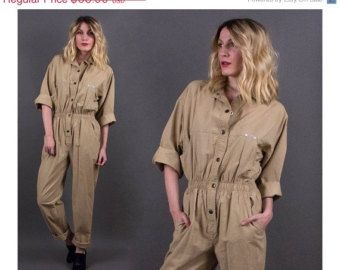 SPRING SALE vintage 80s khaki minimalist jumpsuit coveralls workwear mechanic pantsuit utility romper camel brown S