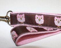 Lanyard- Brown and Pink Owls Light Pink Webbing