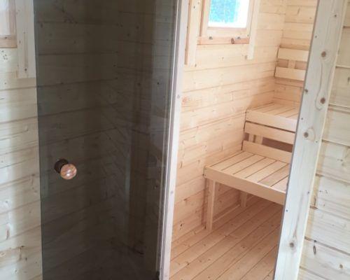Hansa Lounge Xxl Mit Sauna 22m 70mm 8x5 Hansagarten24 Dusche Einbauen Gartenhaus Mit Sauna Gartensauna