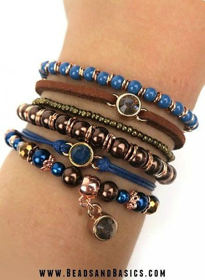 Blue with Brown Bracelets - Boho style- Fashion - DIY + Materials to make your own at www.beadsandbasics.com
