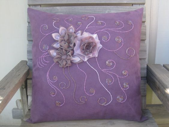 Whimsical Garden Purple Throw Pillow Cover 20x20 by vicontempo, $53.40