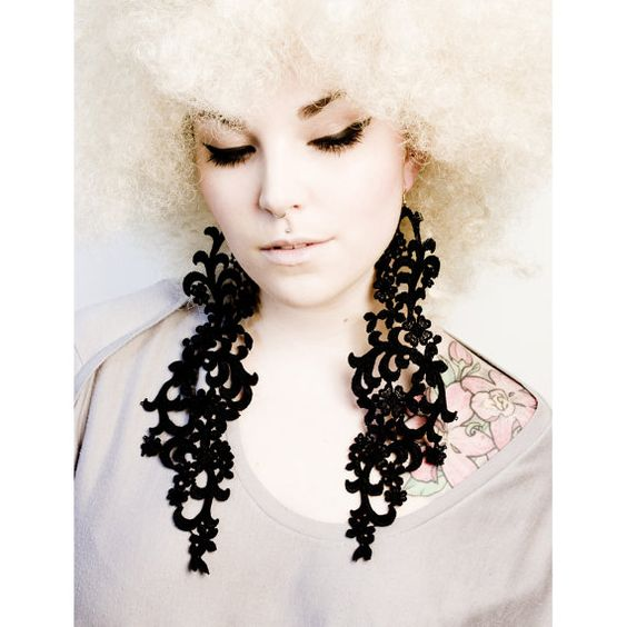Poison Ivy Fearless LACE earrings in black by thisilk on Etsy,