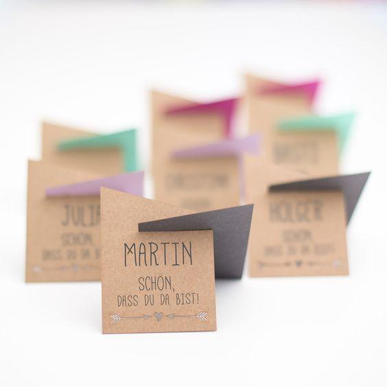 Platzkarten zur Hochzeit | 20 Stück - Farbwahl von boxDesign auf DaWanda.com
