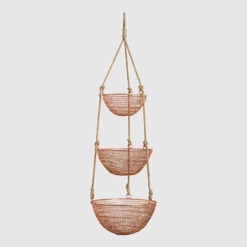 Copper And Rope 3 Tier Hanging Basket Hanging Baskets Kitchen Hanging Fruit Baskets Rope Decor