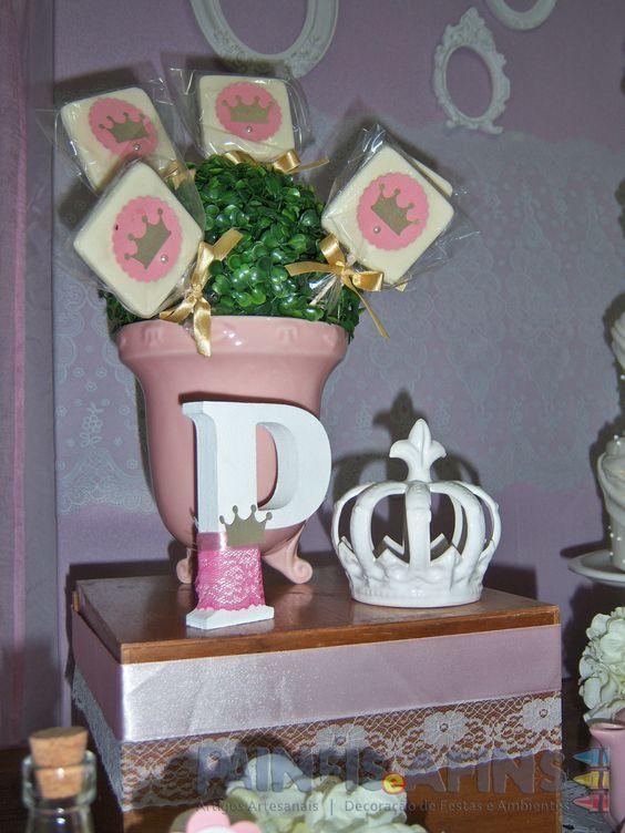 Pirulitos de chocolate customizados para festa infantil #princesas