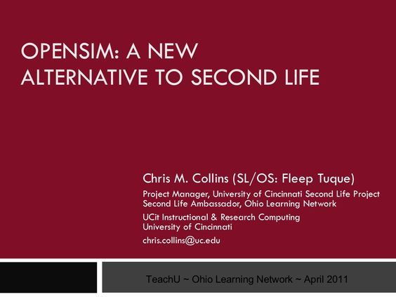 opensim-a-new-alternative-to-second-life by Fleep Tuque via Slideshare