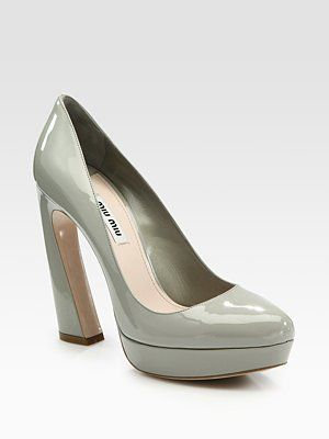 Miu Miu Patent Leather Flare-Heel Platform Pumps
