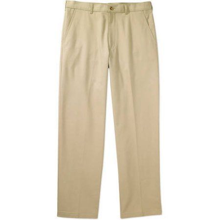George Men's Flat-Front Wrinkle-Resistant Pants, Size: 36 x 34 ...