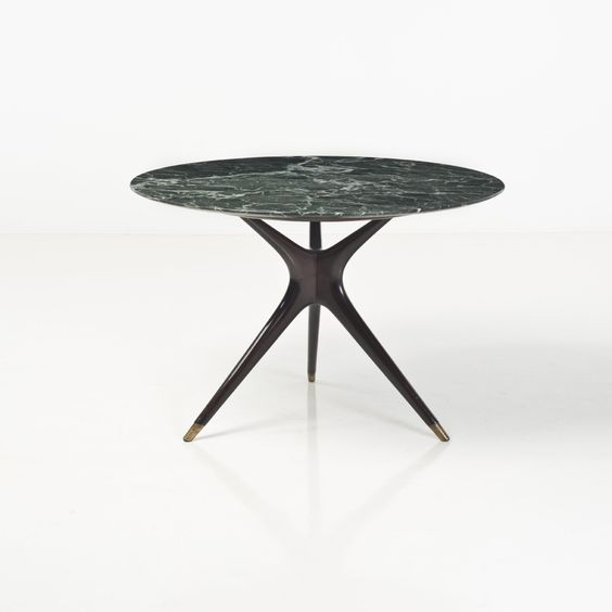 Ico Parisi; Wood, Marble and Brass Occasional Table, 1950s.