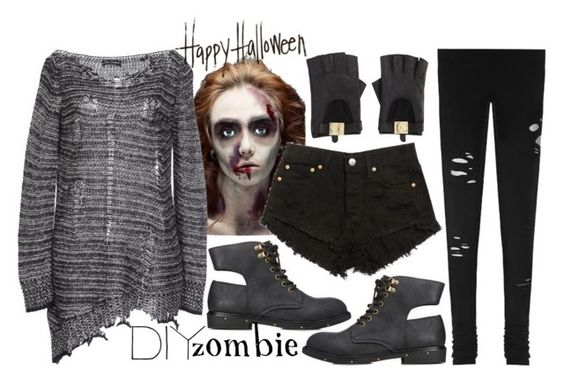"""557. Walking Dead"" by adc421 ❤ liked on Polyvore featuring mode, Bad Spirit, Forever 21, LnA, BCBGMAXAZRIA, DIY, zombie, halloweencostume, halloweendiycostume en myownclosetcostume"