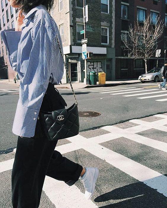 our Blue Stripe Oversize Sleeve Shirt✨! #pixiemarket #chanel #sporty #fashion #pixiemarket