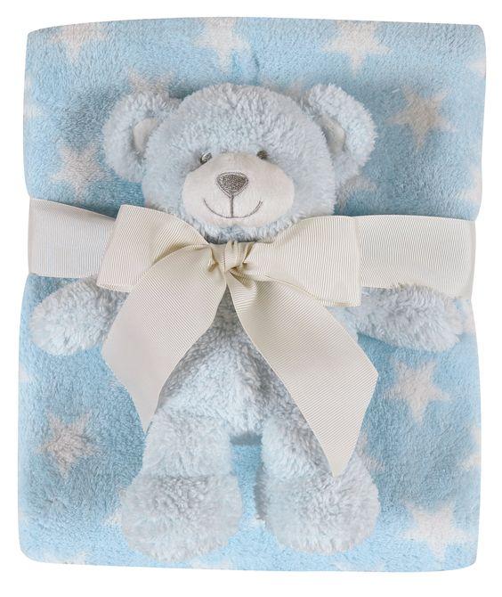 Stars Polyester Blanket and Bear Plush Toy Set