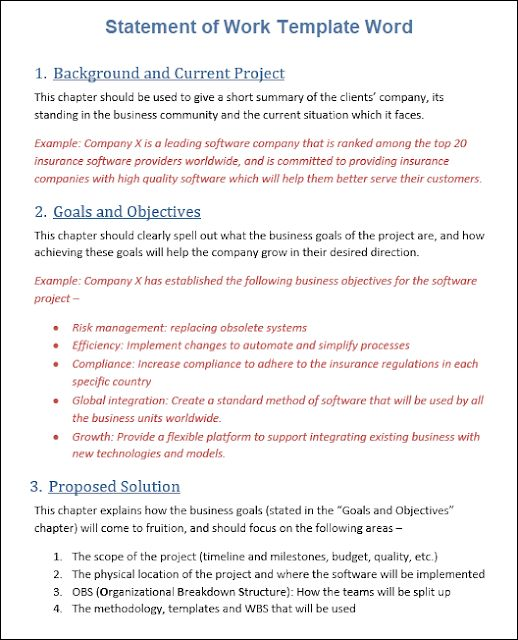 Sow Template Free Word Template Statement Of Work Word Template Statement