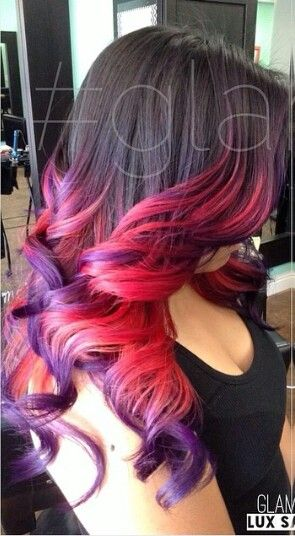 Pink purple ombre dip dyed hair idea. I usually strongly dislike the ombre look, but this is done very well. It flows nicely.