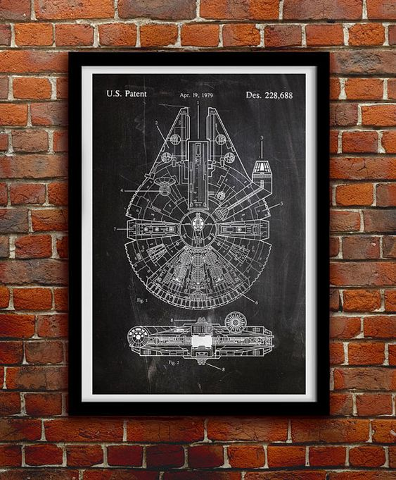 Star Wars Millenium Falcon - Geek decoración - decoración de la pared de patentes imprimir cartel - 0068  Colgar un pedazo de historia en su