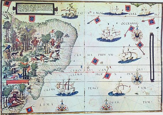 """Bibliophilia on Twitter: """"The coast of Brazil and natives extracting brazilwood. Portuguese map by Lopo Homem (c. 1519) https://t.co/D4oOPh8NEf"""""""