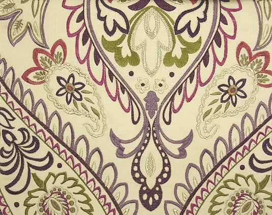 Nizam Embroidered Curtain Fabric A cream linen with a large scale ...