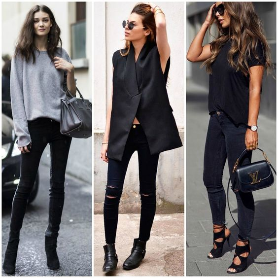 monochrome neutral outfit | ways to wear black skinny jeans ...