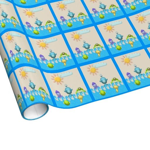 Cute Sea Animals Baby Shower Gift Wrap Paper