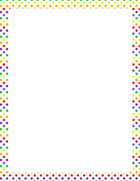 Printable rainbow polka dot border. Free GIF, JPG, PDF, and PNG downloads at http://pageborders.org/download/rainbow-polka-dot-border/. EPS and AI versions are also available.