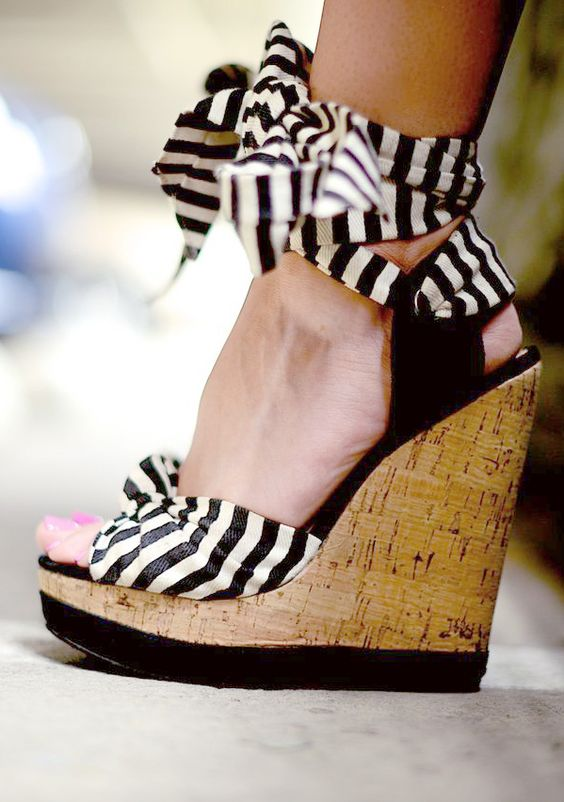 Stripe Lace Up Wedges: