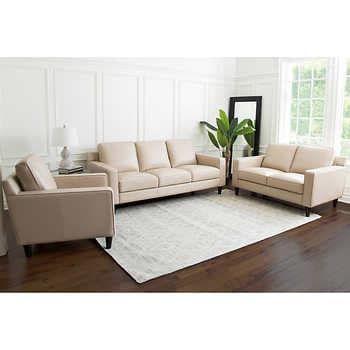 Rayen 3 Piece Leather Set Sofa Loveseat Chair Leather Living Room Set Cream Leather Sofa Living Room Living Room Leather Sofa loveseat and chair set