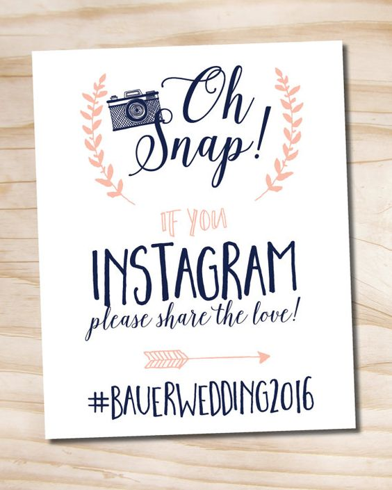 Oh Snap Instagram Navy and Blush Wedding Sign by PaperHeartCompany