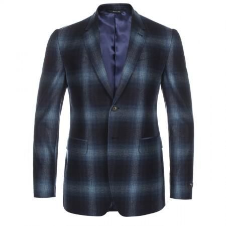 Paul Smith Men's Jackets - Tailored-Fit Navy Shadow Plaid Wool Blazer