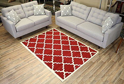 """Modela Collection Trellis Modern Area Rug Rugs (Red, 4'9""""x6'10"""")"""