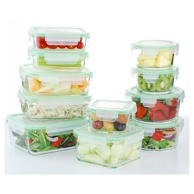 Kinetic Gogreen Glassworks 22 Piece Oven Safe Glass Food Storage