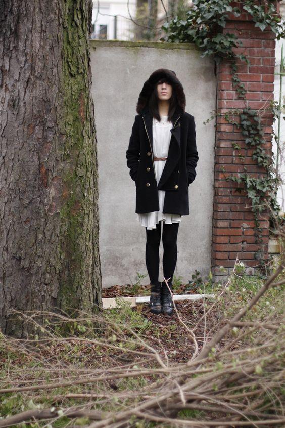 White dress, black everything else. Paris