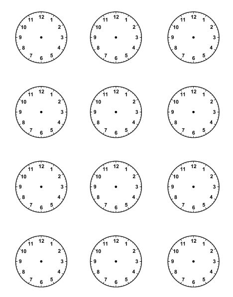 Blank Clock faces for Picture Schedule visual timetable