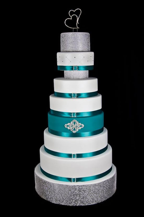 white, teal and silver wedding cake