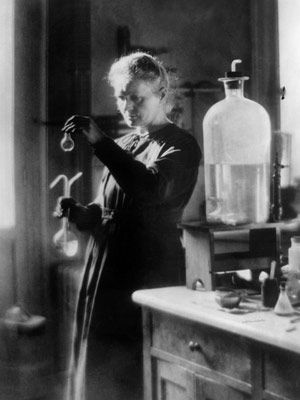 Marie Skłodowska-Curie (7 November 1867 – 4 July 1934) was a physicist and chemist famous for her pioneering research on radioactivity. She was the first person honored with two Nobel Prizes]—in physics and chemistry. She was the first female professor at the University of Paris, and in 1995 became the first woman to be entombed on her own merits in the Panthéon in Paris.