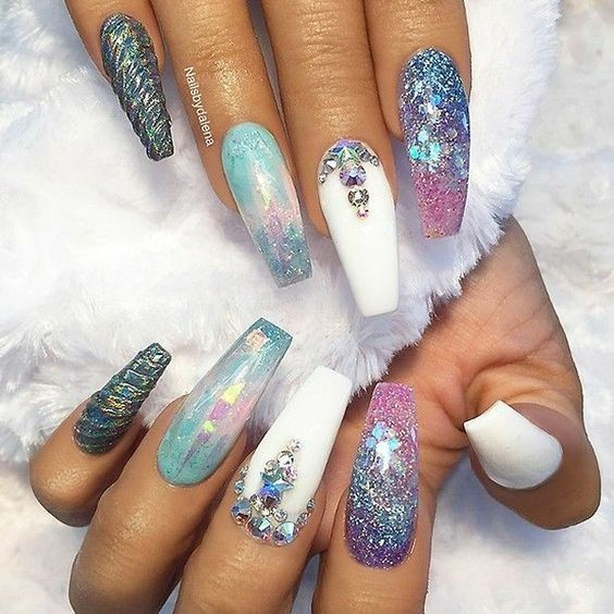 44 Coffin Acrylic Summer Nail Designs 2019 Luxury Nails Unicorn