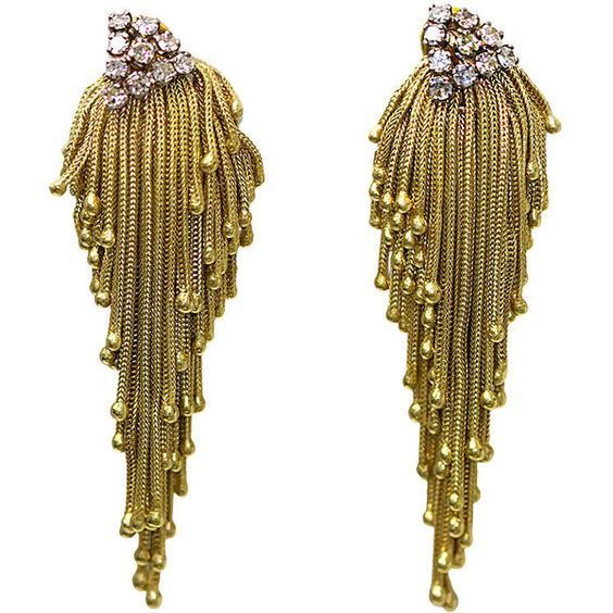 Gold and diamond tassel earrings found on Polyvore