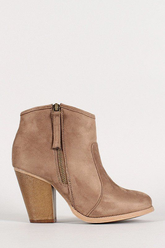These ankle boots feature a round toe silhouette, chunky heel, cushioned insole, smooth lining, and exposed side zipper closure for easy on-and-off. Material: Vegan Suede (man-made) Sole: Synthetic Me