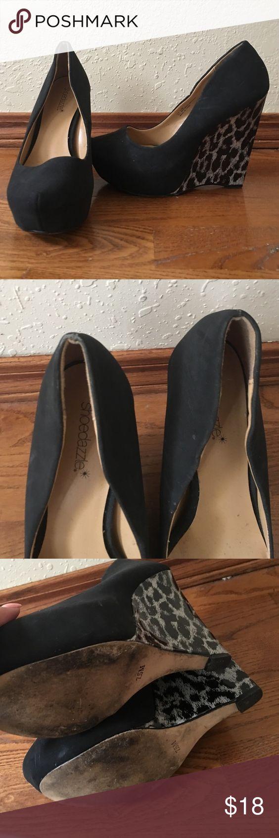 Original line of Shoe Dazzle wedges. Cheetah and black multi wedges. No trades please. Shoe Dazzle Shoes Wedges