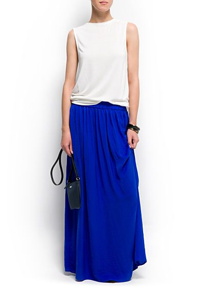 Mango - Electric blue. Pleated long skirt