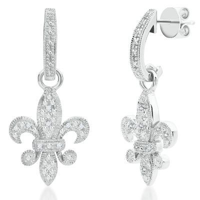 1/10ct TW Fleur Di Lis Diamond Earrings available at #HelzbergDiamonds