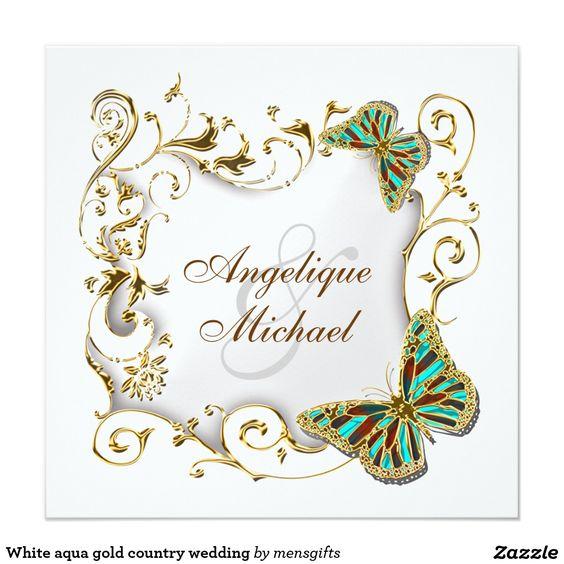 """White aqua gold country wedding 5.25"""" square invitation card"""