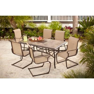 500 Home Depot Hampton Bay Belleville 7 Piece Patio Dining Set FCS80198ST