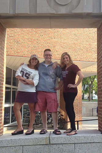 Keri McKee, Andrew Garton and Jacqui Coones, alums and directors of development for the MSU Foundation, proudly sport their BearWear on the Dartmouth College campus while attending a CASE Conference in New Hampshire.