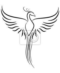 """Papier peint """"arrière-plan, symbole, une illustration - phoenix tattoo"""" ✓ Pose facile ✓ 365 jours pour le renvoi ✓ Regardez d'autres motifs de cette collection !"""