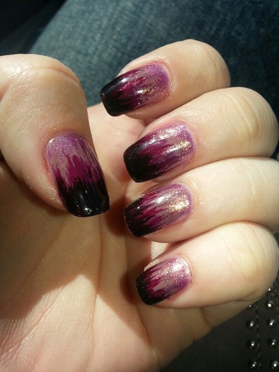 Gradient using a striping brush... No sponge