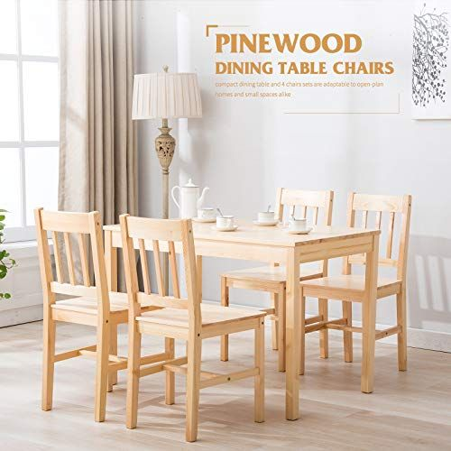 Enjoy 5 Pcs Natural Pine Wood Dining Set Table And Chairs For Kitchen Dining Room Best Dinin Kitchen Table Settings Wood Dining Room Table Wood Dining Room Set