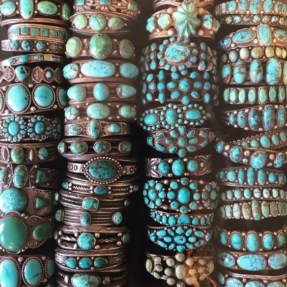 Stacks of vintage Navajo and Zuni turquoise bracelets at Shiprock Santa Fe in Santa Fe, New Mexico.